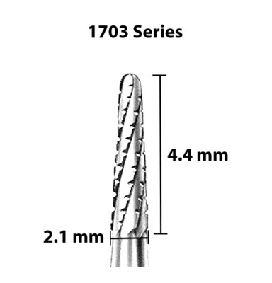Carbide Bur, US 1703, 2.1mm dia, Tapered Round End X-cut