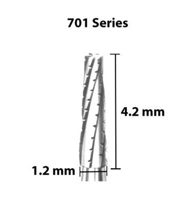 Carbide Bur, US 701, 1.2mm dia, Tapered Flat End X-cut