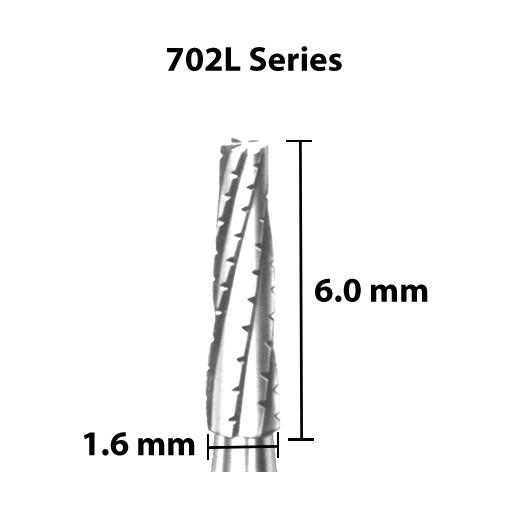 Carbide Bur, US 702L, 1.6mm dia, Tapered Flat End X-cut