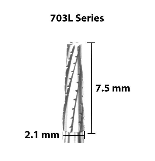 Carbide Bur, US 703L, 2.1mm dia, Tapered Flat End X-cut