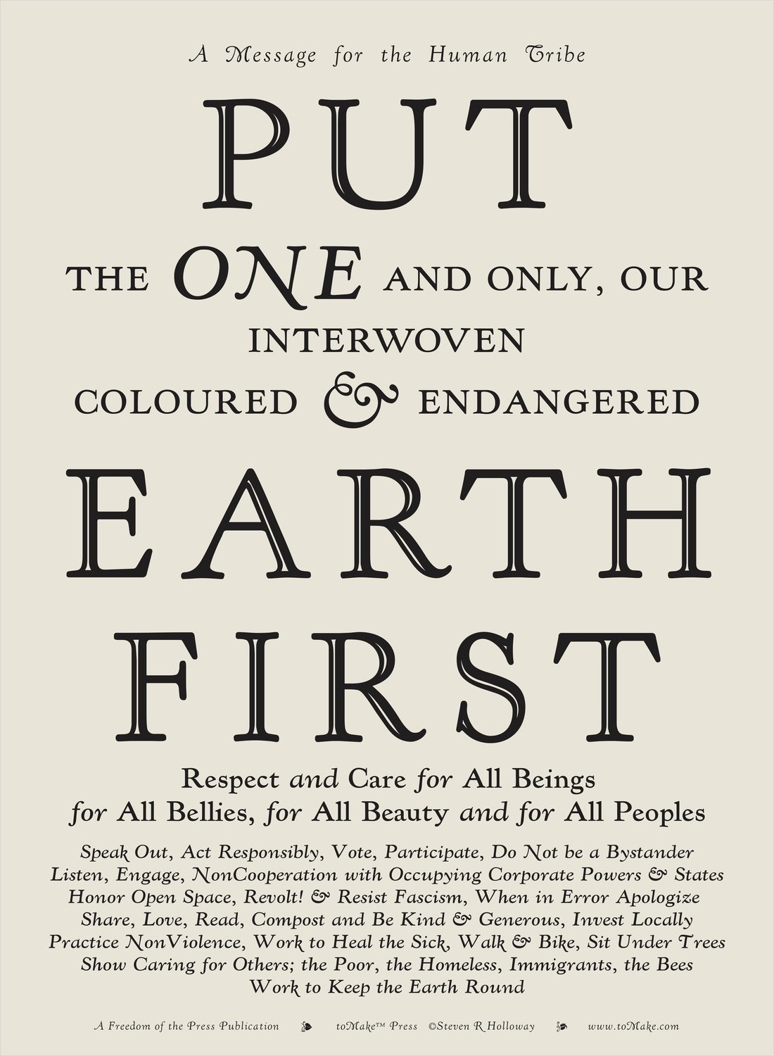Put Earth First Signed