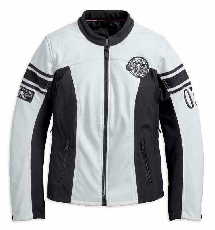 Manteau léger pour Femme Harley-Davidson® Amelia Anne Soft Shell Riding Jacket Noir & Blanc 97107-18VW