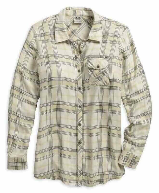 Chemise à manches longues pour Femmes Harley-Davidson® coupe décontractée à carreaux Blanc 96019-18VW