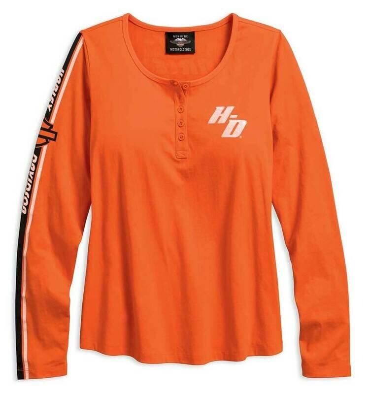 Chandail Manches Longues pour Femme Harley-Davidson® Henley Coton Orange 96158-18VW