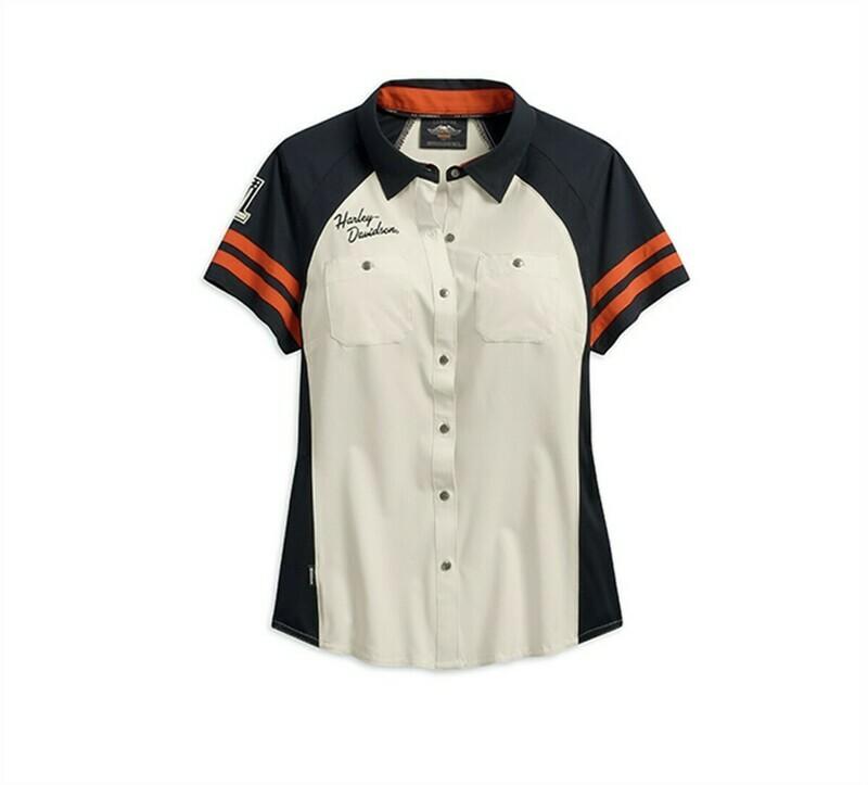 Chemise à manches courtes pour Femmes Harley-Davidson® Performance avec technologies CoolCore Blanc cassé 99220-19VW