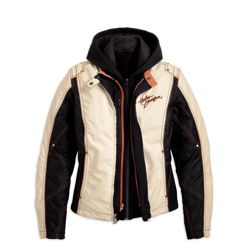 Manteau pour Femme Harley-Davidson® Spirited   en Cordura & Polyester Blanc Cassé et Noir 98222-10VW
