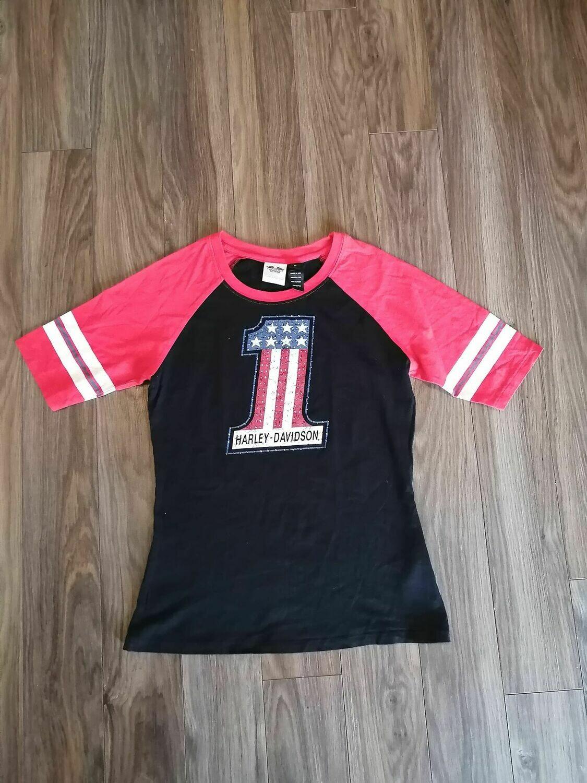 Chandail Manches 3/4 pour femmes Harley-Davidson® Raglan Number One Noir & Rouge 99109-12VW