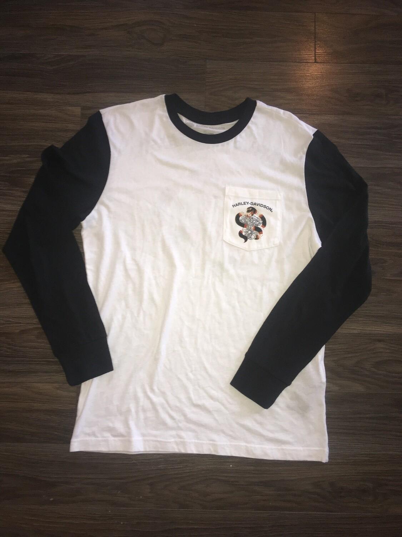 Chandail à Manches Longues style Baseball pour Homme Harley-Davidson® Coton Blanc et Noir 96659-19VM