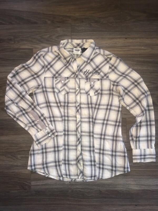 Chemise à manches longues pour Femmes Harley-Davidson® coupe décontractée à carreaux Blanc 96128-13VW