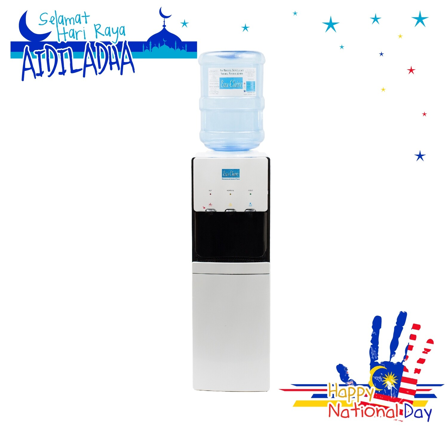 PACKAGE A : EAU CLAIRE 19L x 100 bottles FREE Standing Water Dispenser