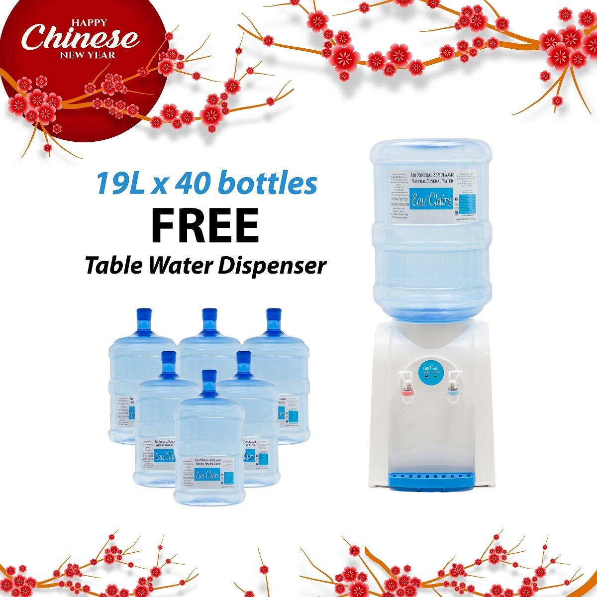 PACKAGE B : EAU CLAIRE 19L x 40 bottles FREE Table Top Water Dispenser
