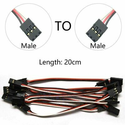 Servo Extension Lead Wire Cable, 10Pcs 20cm Male to Male JR Plug