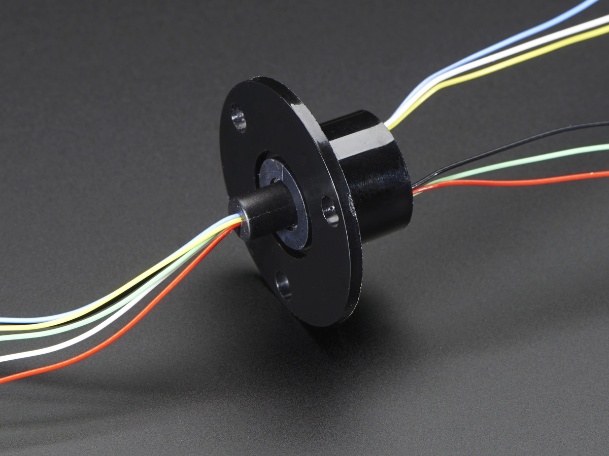 Slip Ring with Flange - 22mm diameter, 6 wires