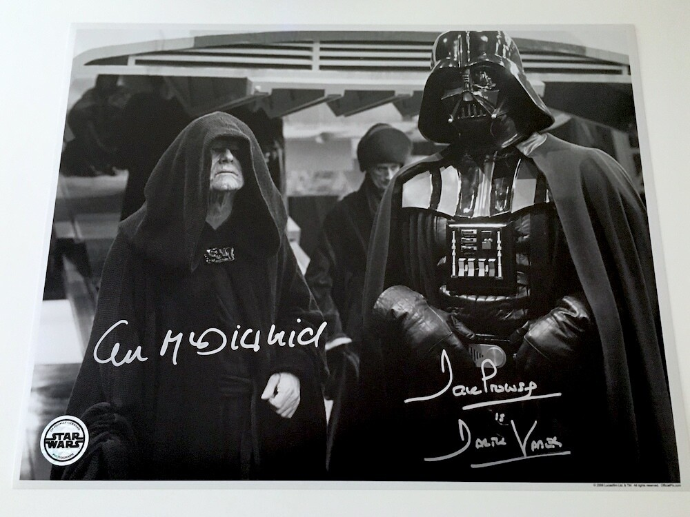 11X14 DARTH VADER PHOTO SIGNED BY DAVE PROWSE AND IAN MCDIARMID
