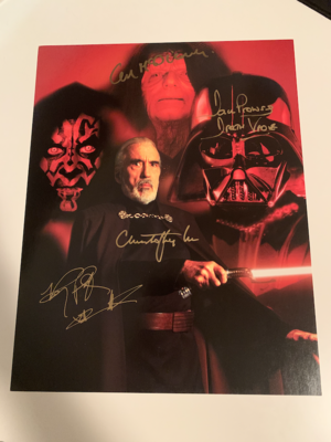 11X14 SIGNED BY DAVE PROWSE, CHRISTOPHER LEE, RAY PARK, AND IAN MCDIARMID