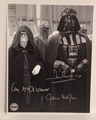 11X14 DARTH VADER PHOTO SIGNED BY DAVE PROWSE, JAMES EARL JONES, AND IAN MCDIARMID