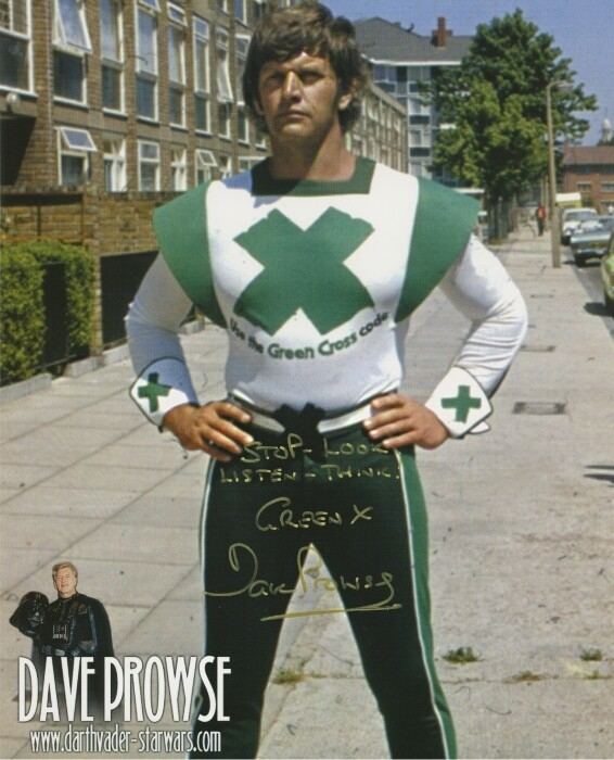 GREEN X CODE MAN PHOTO SIGNED BY DAVE PROWSE