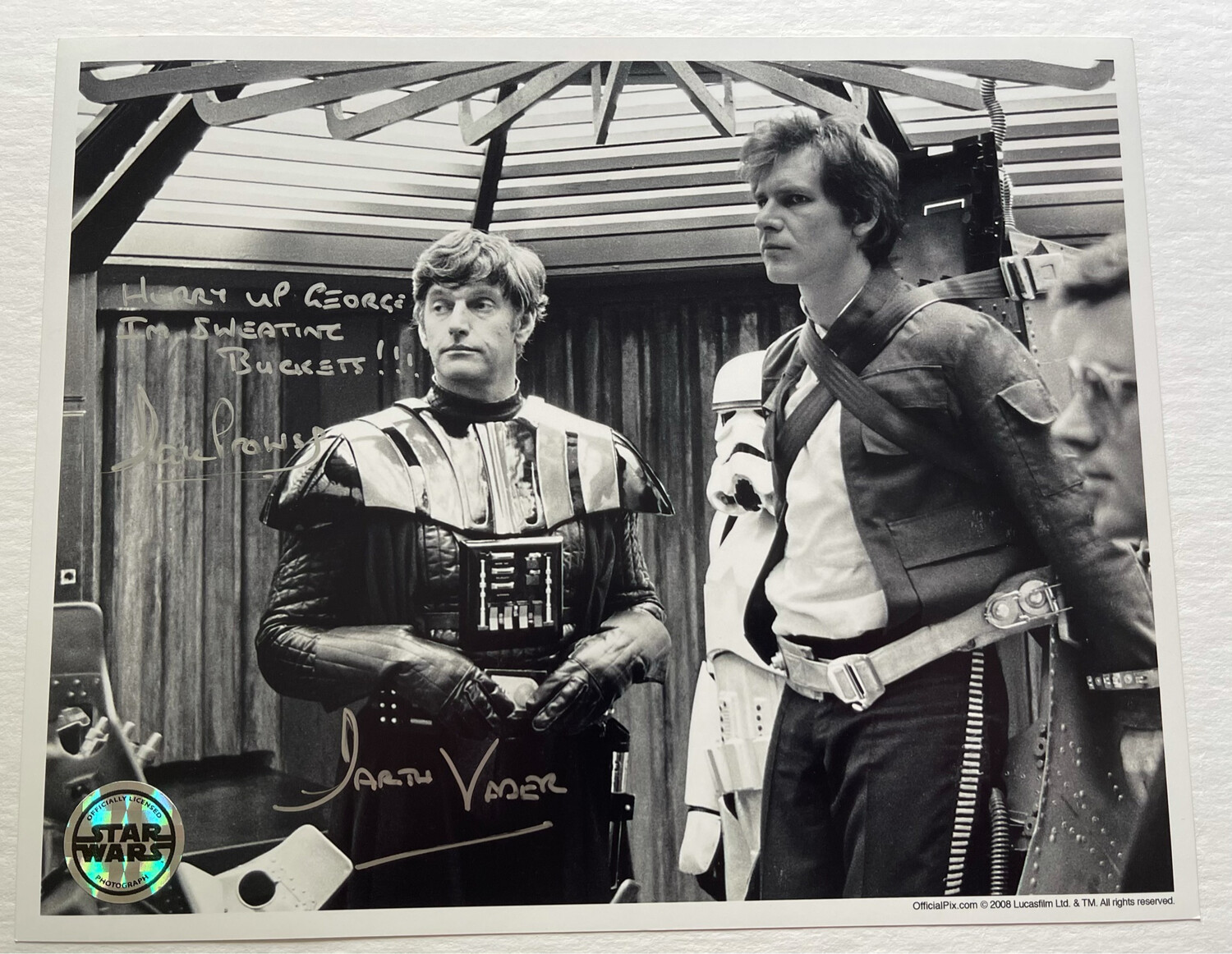 8X10 DARTH VADER PHOTO SIGNED BY DAVE PROWSE - ONE OF A KIND!