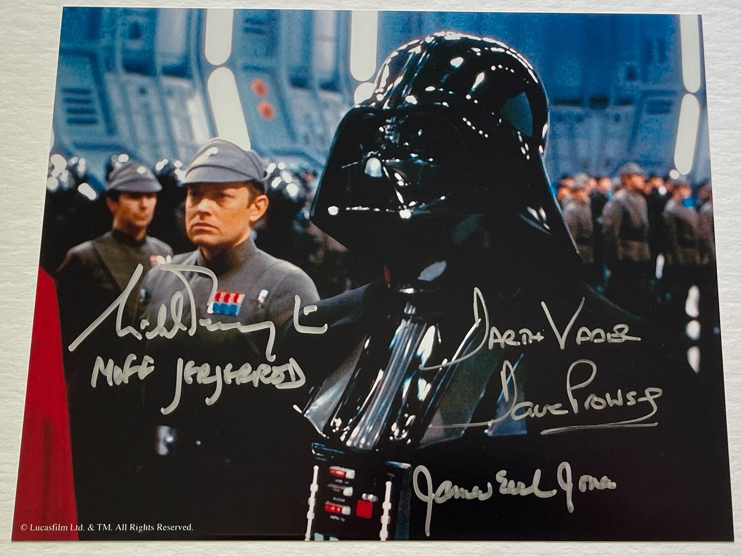 8X10 PHOTO SIGNED BY DAVE PROWSE, JAMES EARL JONES, AND MICHAEL PENNINGTON