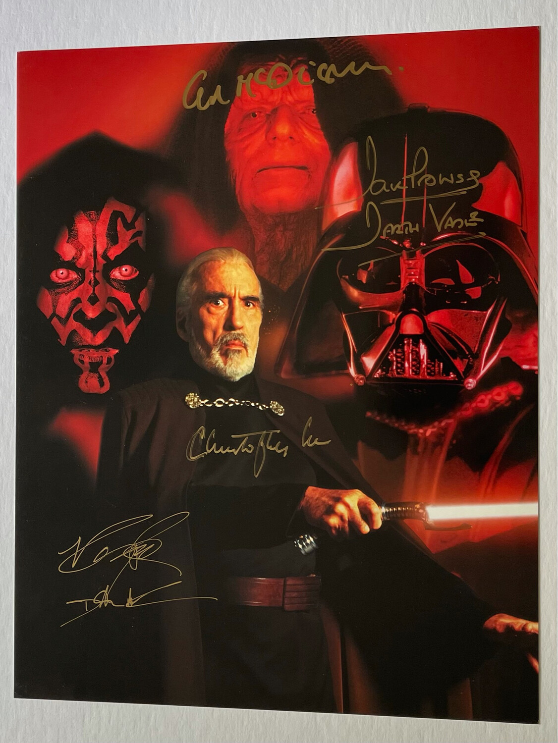 11X14 DARTH VADER SIGNED BY DAVE PROWSE, CHRISTOPHER LEE, IAN MCDIARMID, AND RAY PARK
