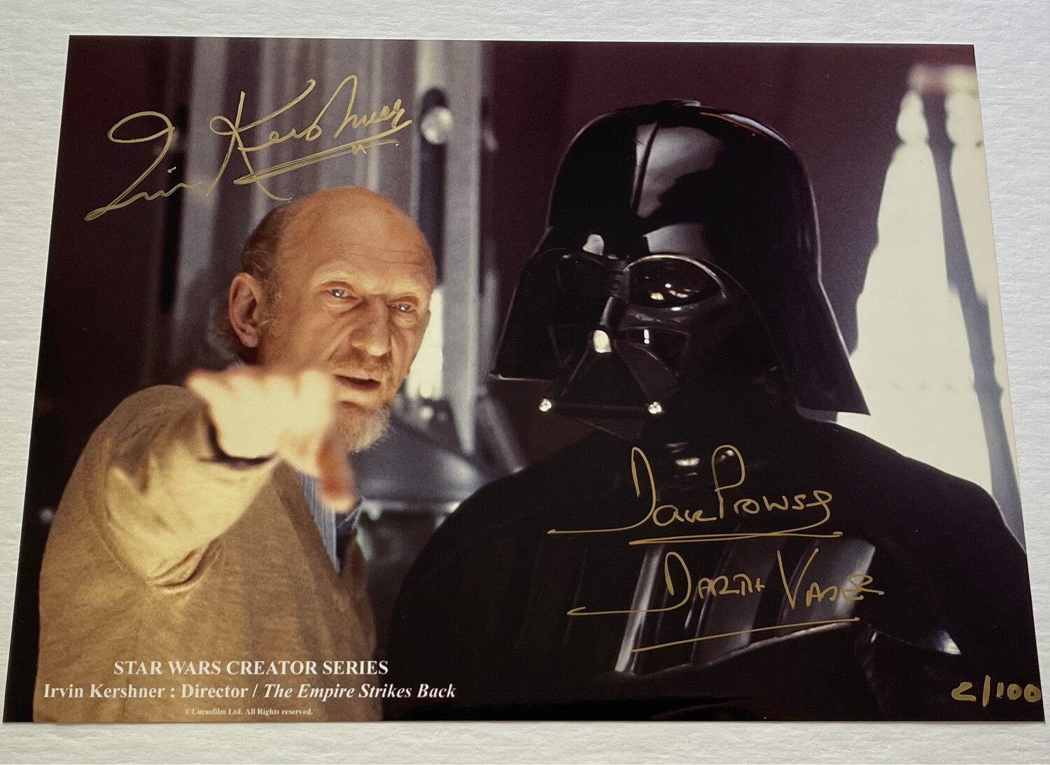 8X11 PHOTO SIGNED BY DAVE PROWSE AND IRVIN KERSHNER