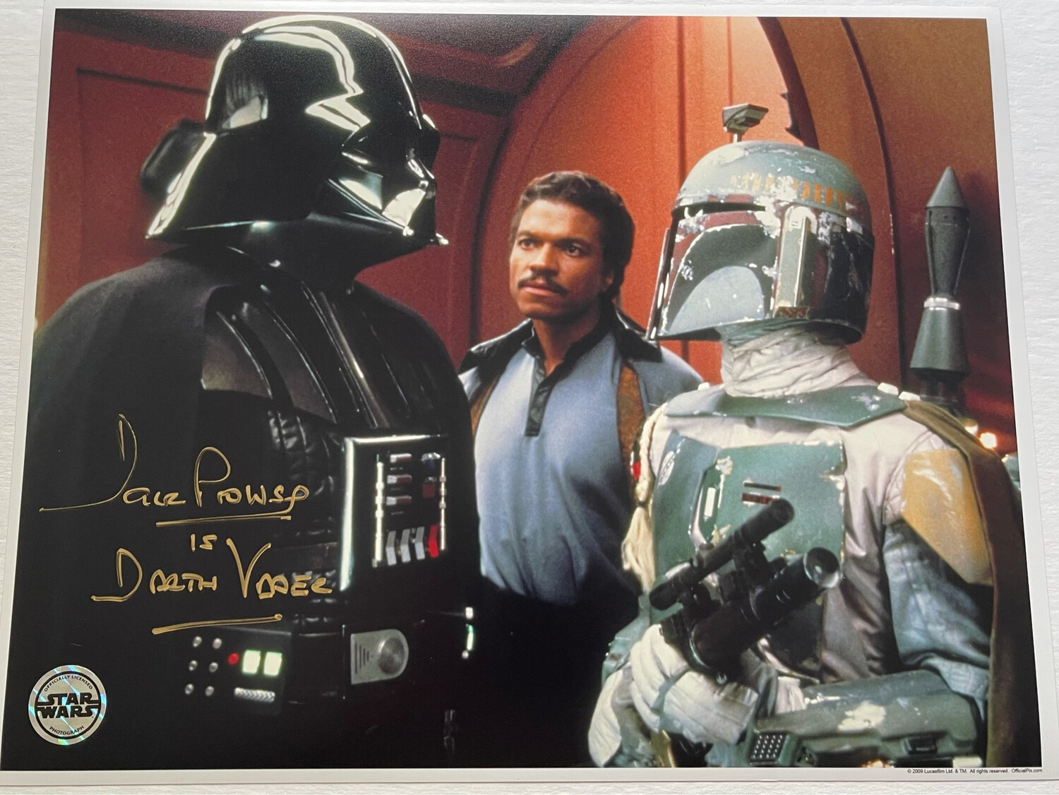 11X14 DARTH VADER PHOTO SIGNED BY DAVE PROWSE