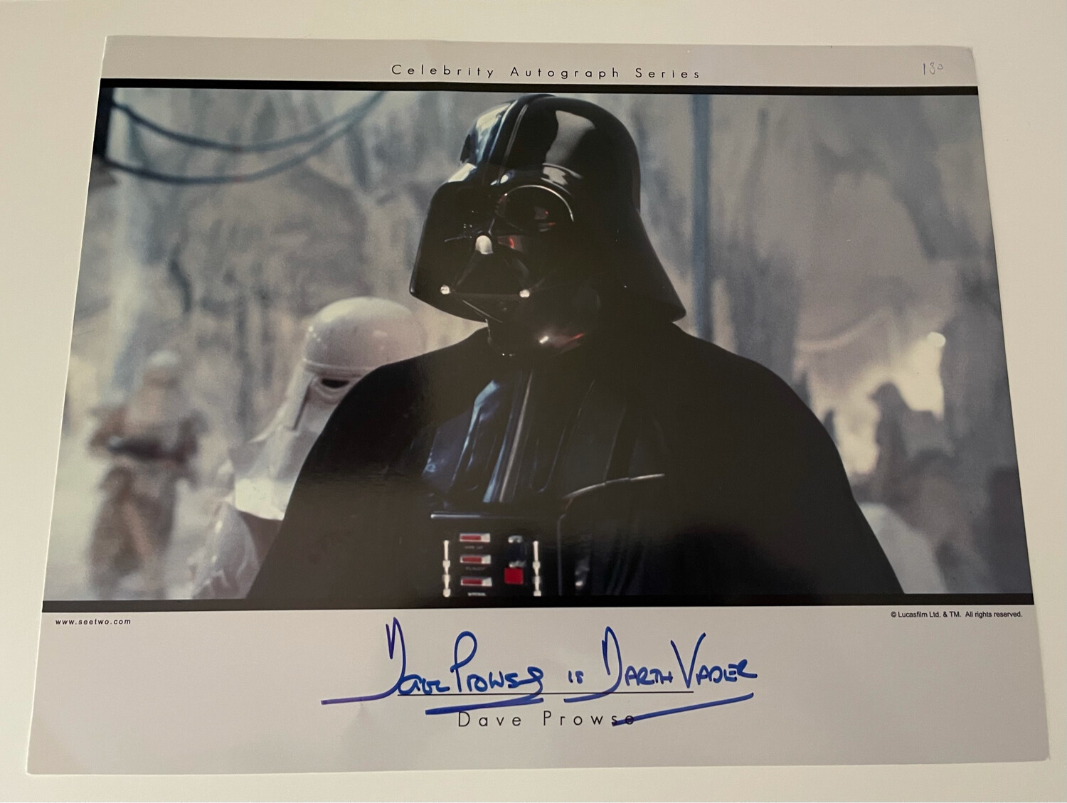 11X14 DARTH VADER SIGNED BY DAVE PROWSE