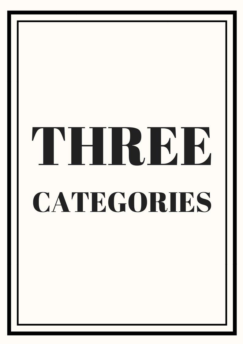 Three Categories - $197.00