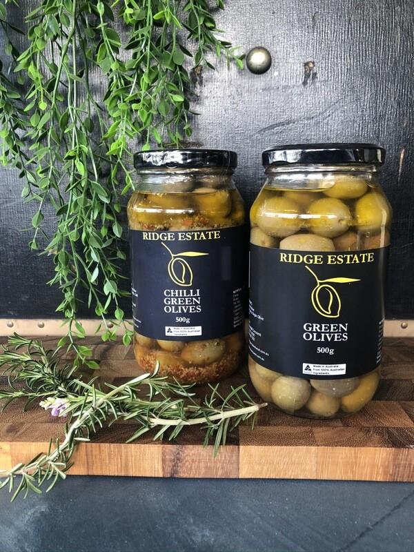 Chilli Green Olives (Jar) - Ridge Estate