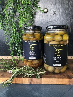 Chilli Green Olives (Jar) - Ridge Estate