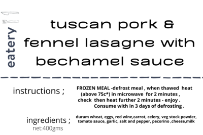 Tuscan Pork & Fennel Lasagne with Bechamel Sauce - Heat & Eat Frozen Meal (small)