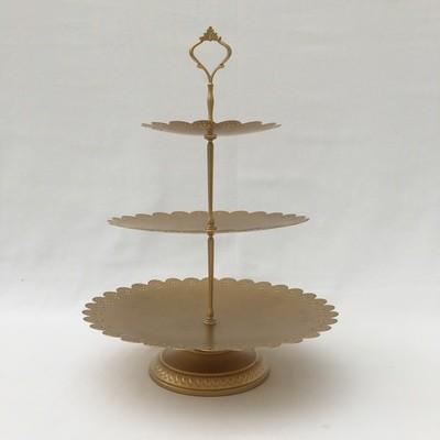 Light Gold - 3 Tiered Cupcake Stand - Pedestal - Code GR025