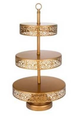 Dark Gold - 3 Tiered Cupcake Stand - Pedestal - Code GR026