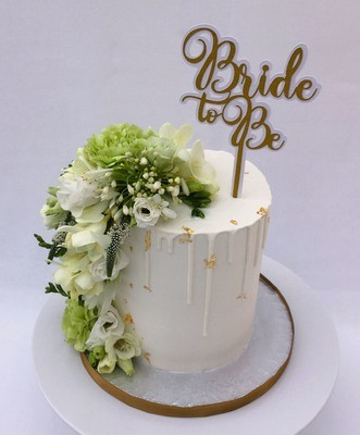 White Butter Cream -  With White Butter Cream - White Chocolate Drip -  Bride To Be (Excluding Topper).