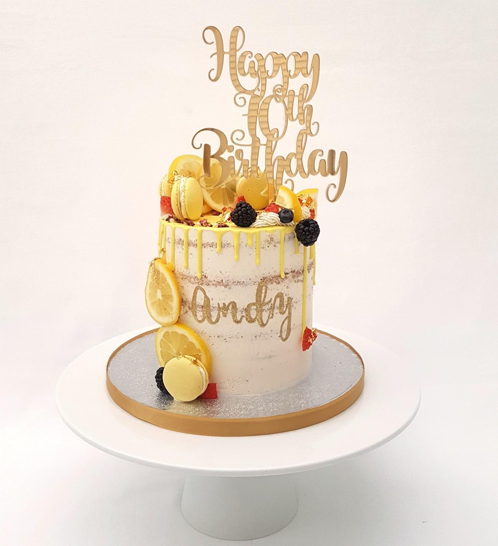 Semi Naked White Butter Cream With Fresh Lemons (Excluding Happy Birthday Topper).