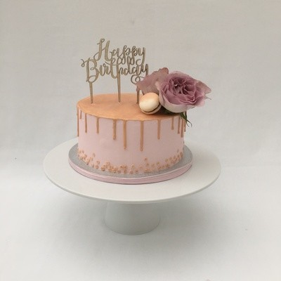 Pink  Butter Cream With Gold Drip and Fresh Flowers (Excluding Happy Birthday Topper).