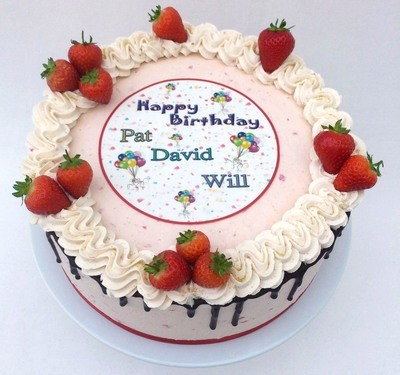 Fresh Strawberry Sponge Cake  With Strawberry Butter Cream