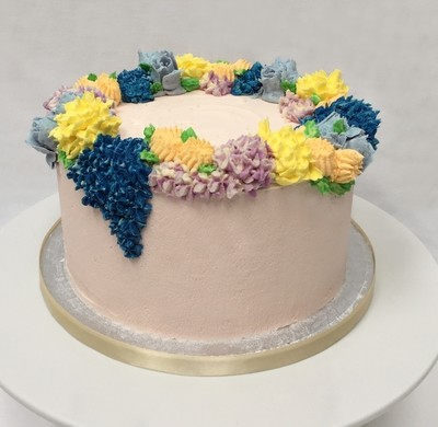 Butter Cream Flower Crown Cake - Yellow, Blue & Violet