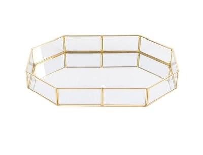 Dark Gold -  Geometric Glass  -  1 Tier Sweet/Macaron Platter - Code DGG30