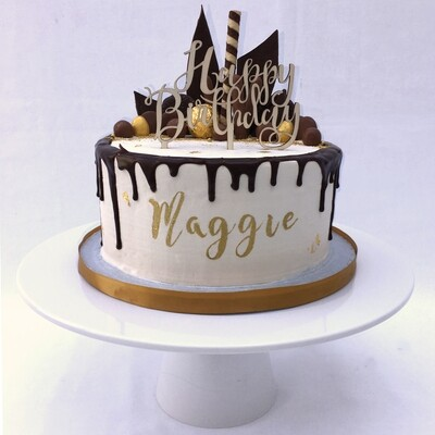 White Butter Cream - With Caramel Or Chocolate Drip & Chocolate Sails. (Excluding Happy Birthday Topper).