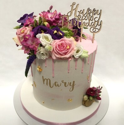 White Butter Cream - With Pink Chocolate Drip & Fresh Flowers (Excluding topper).