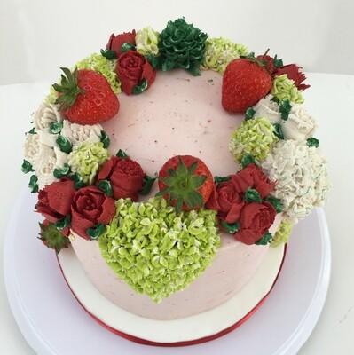 Butter Cream Flower Crown Cake - Red, Green & White