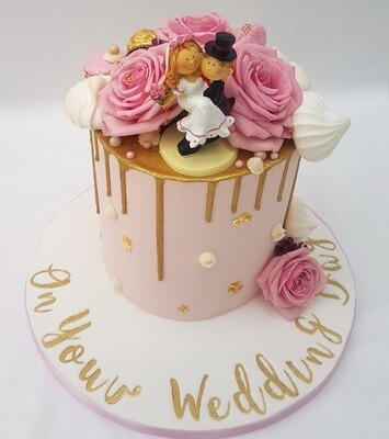 Wedding Cake with Pink Buttercream Fresh Flowers and Gold Drip (Excluding Cake Topper).