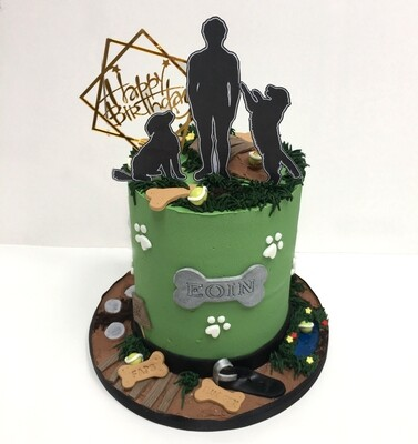 Dog Walking Cake (Excluding Happy Birthday Topper)