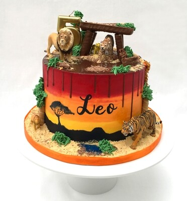 Lion Cake With Hand Painted Name & Sunset