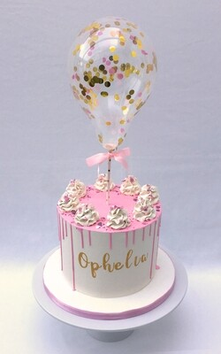 Girl's White Butter Cream and Pink Chocolate Drip With Cake Balloon