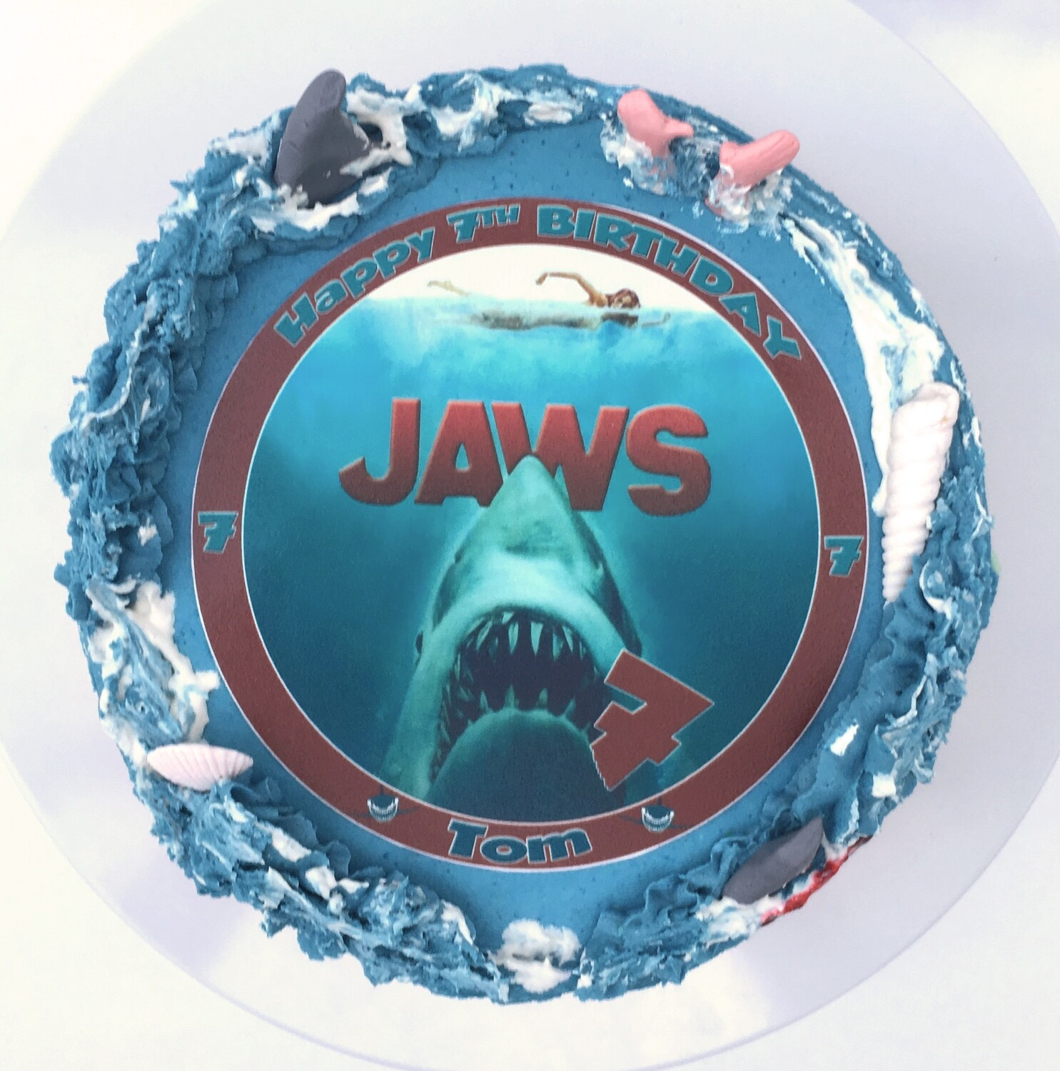 Jaws Personalised Edible Image Cake