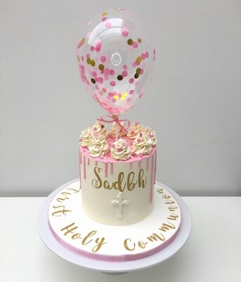 White Communion Cake With Balloon & Personalised Cake Board