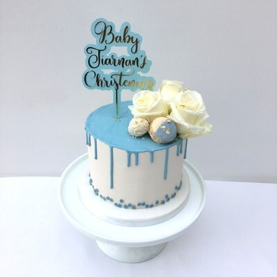White Butter Cream Blue Drip & Fresh Flowers (Excluding topper)