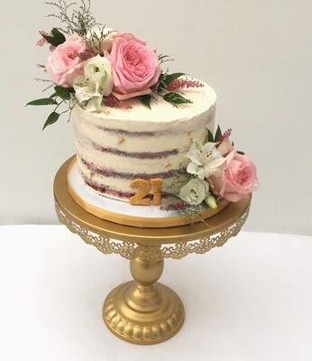 Semi Naked Cake with Fresh Flowers & Foliage